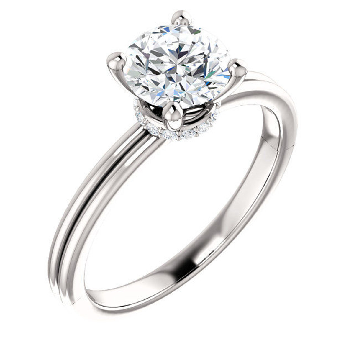 White Gold Round Diamond Accent Ring