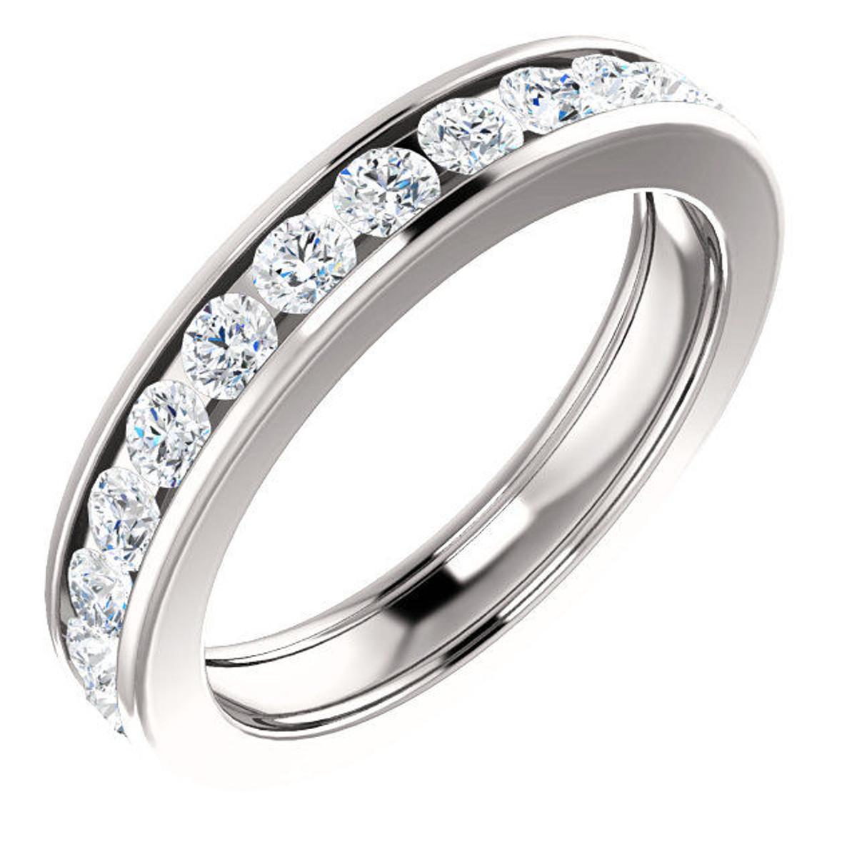 Platinum 1.5 CT TW Channel Set Diamond Eternity Ring