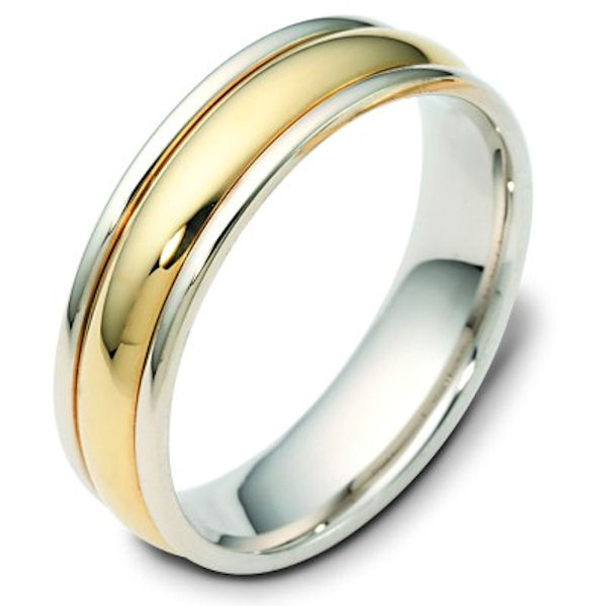 14Kt Two-Tone Domed Classic Wedding Band