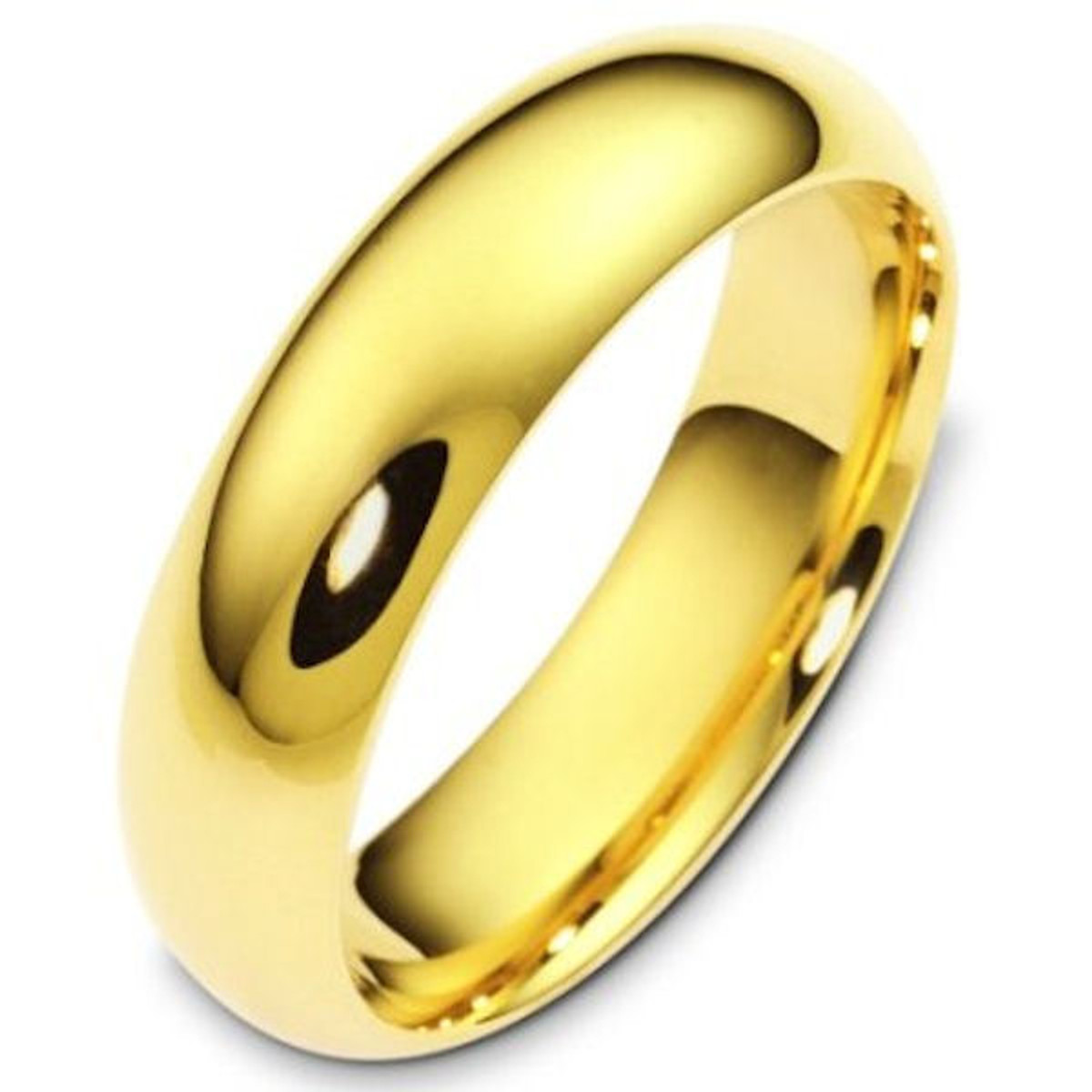 14Kt White Gold 6.0 mm Wide Plain Comfort Fit Wedding Band
