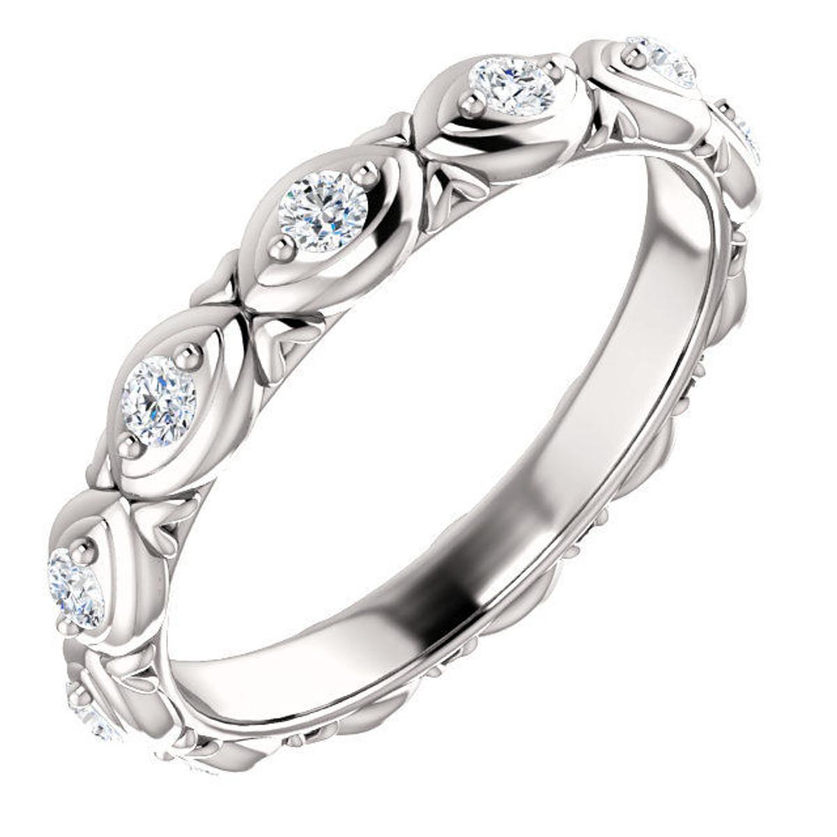14Kt White Gold Designed Diamond Eternity Ring