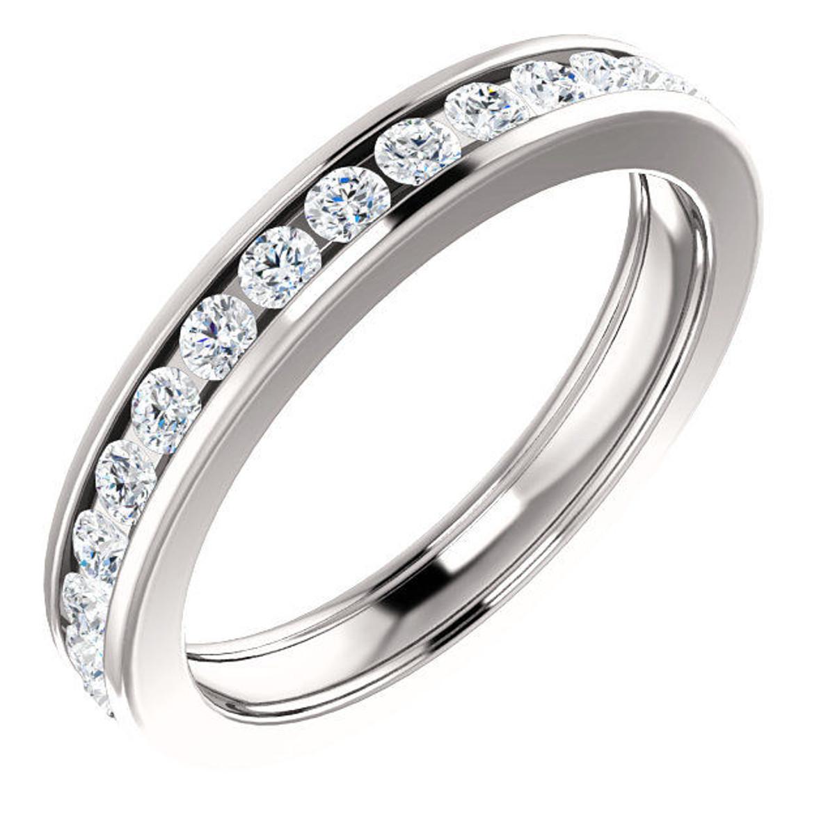 Platinum Channel Set Diamond Eternity Ring