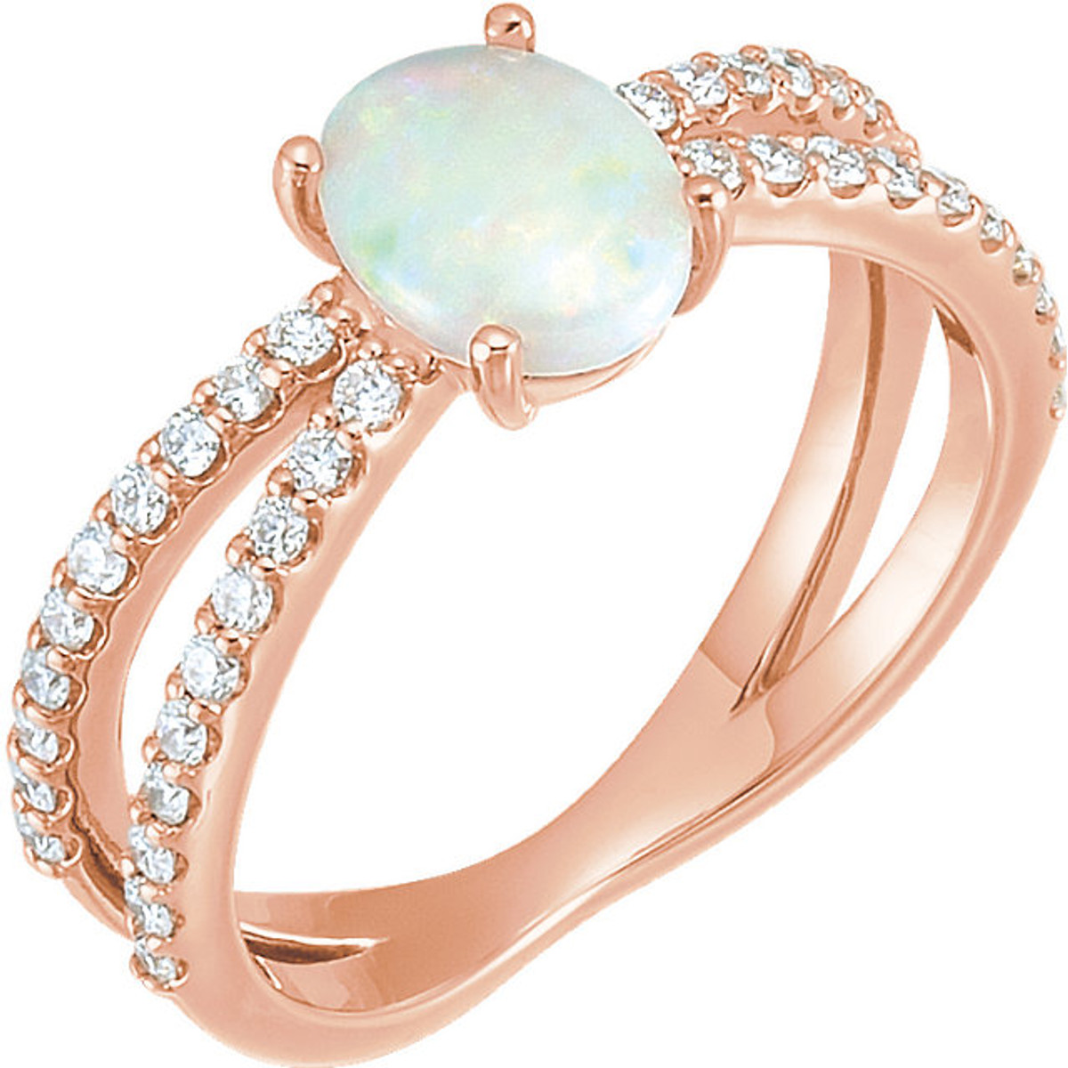 Rose Gold Opal Ring Princess Jewelry