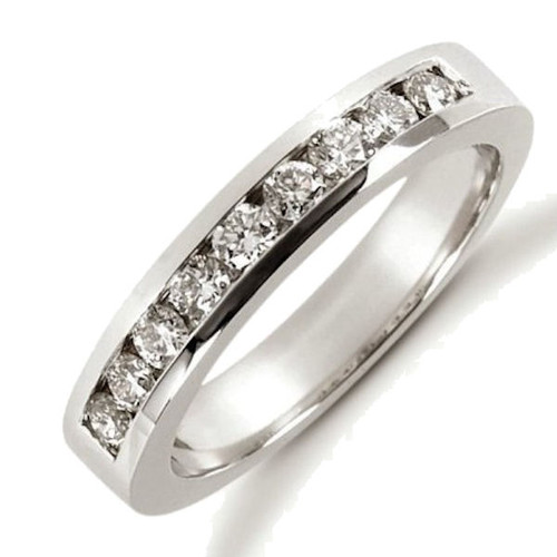 14Kt White Gold Channel Set 0.45 ct tw Diamond Anniversary Ring