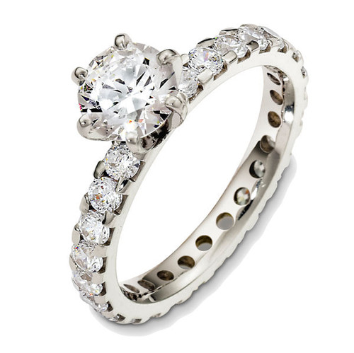 14Kt White Gold Diamond Eternity Engagement Ring