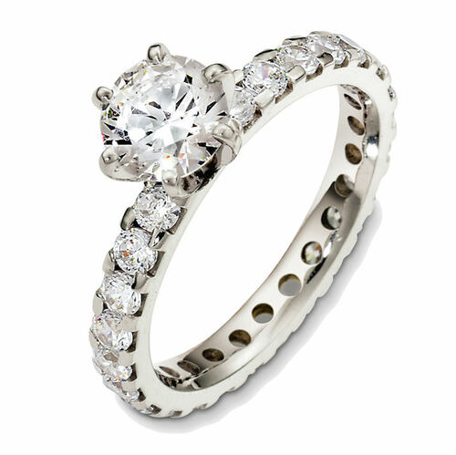 1.10 Ct Tw Diamond Eternity Engagement Ring