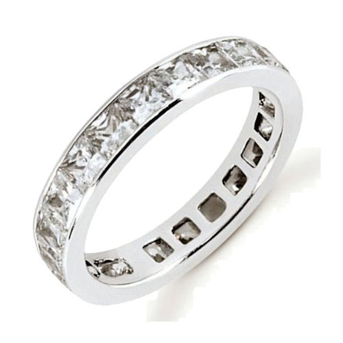 White Gold Princess Cut Eternity Diamond Ring
