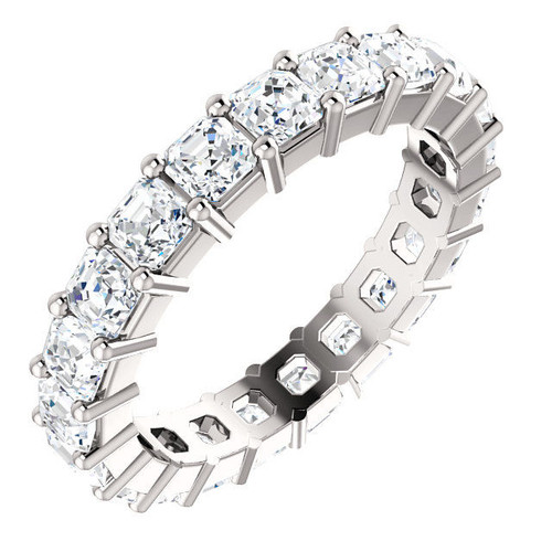 14Kt White Gold 3.15 ct tw Asscher Diamond Eternity Ring
