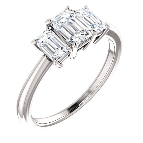 3-Stone Emerald Cut Engagement Ring | PJ399