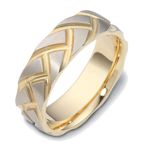Carved Contemporary Wedding Band | PJ431