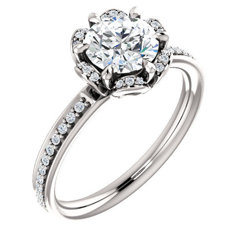Flower Design Diamond Engagement Ring
