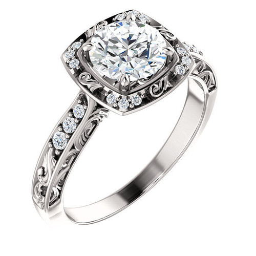 Halo Antique Diamond Engagement Ring