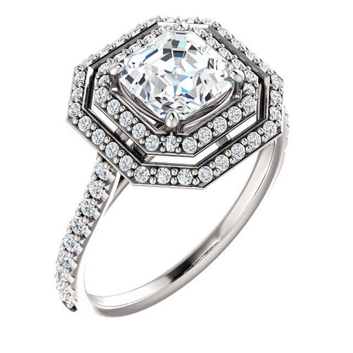 Platinum Double Halo Asscher Cut Engagement Ring