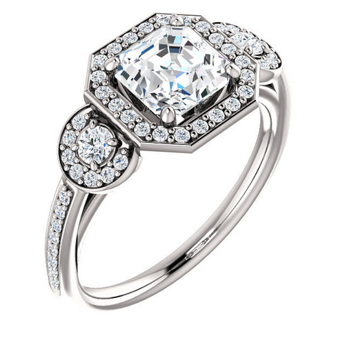 3-Stone Halo Asscher Cut Engagement Ring