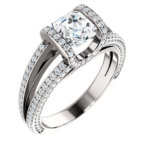 Asscher Half Halo Diamond Engagement Ring
