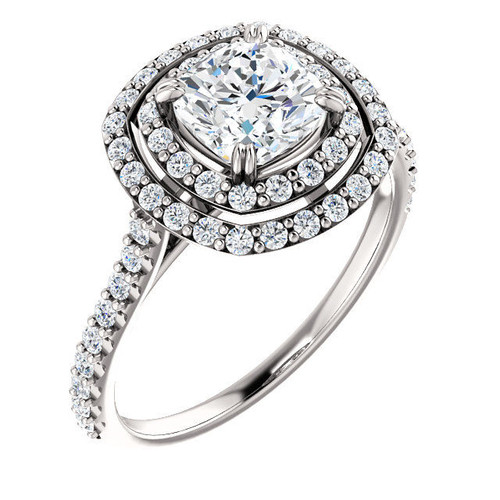 Platinum Double Halo Cushion Cut Engagement Ring | PJ651