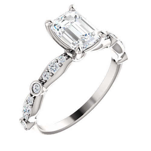 Emerald Cut Diamond Accent Engagement Ring | PJ665