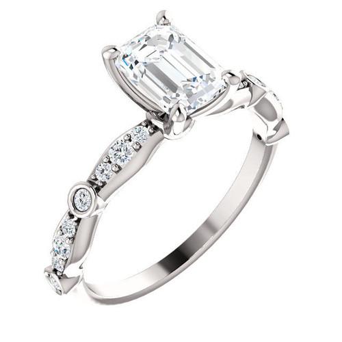Emerald Cut Diamond Accent Engagement Ring | PJ665