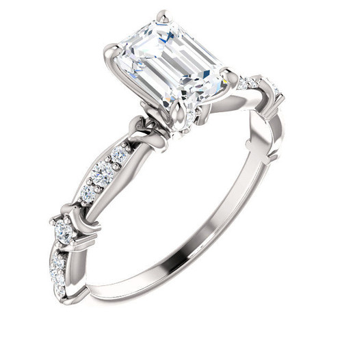 Emerald Cut Diamond Accent Engagement Ring | PJ666