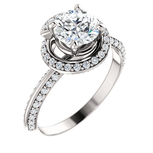 0.38 Ct Tw Halo Diamond Engagement Ring