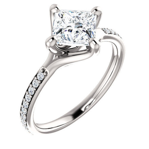 14Kt White Gold Princess Cut Diamond Accent Engagement Ring