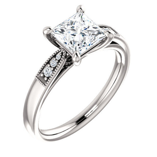 Princess Cut Diamond Accent Engagement Ring