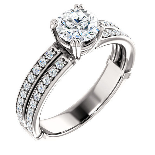 14Kt White Gold Round Cut Diamond Accent Engagement Ring