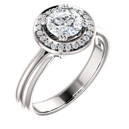 0.11 Ct Tw Diamond Halo Engagement Ring