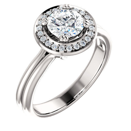 0.11 Ct Tw Diamond Halo Engagement Ring