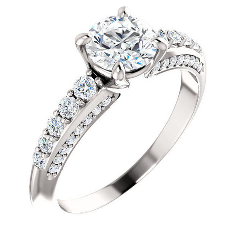 14Kt White Gold Round Diamond Accent Engagement Ring
