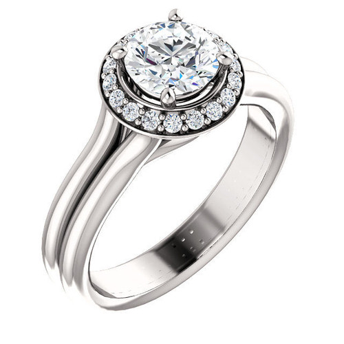 Round Halo Double Band Design Engagement Ring