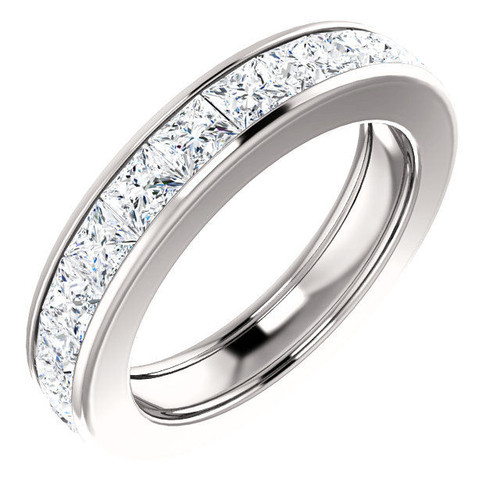 Platinum 3.9 ct tw Princess Cut Diamond Eternity Ring
