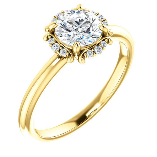 Round Cut 0.07 Ct Tw Diamond Accent Engagement Ring