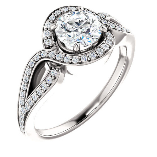 Twisted Halo Round Cut Engagement Ring
