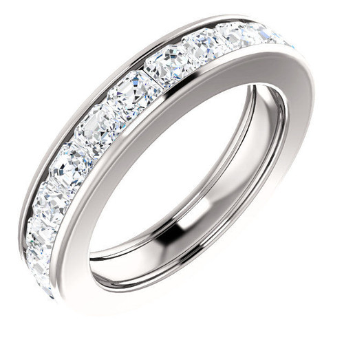 Platinum 3.7 ct tw Asscher Cut Diamond Eternity Ring