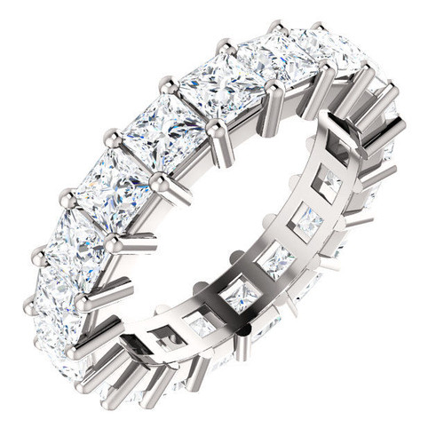 Platinum 4.3 ct tw Princess Cut Diamond Eternity Ring