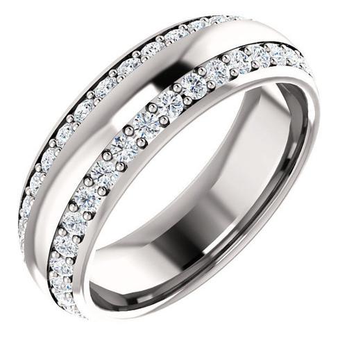 1.11 CT TW Two Rows Diamond Eternity Ring