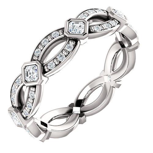0.64 CT TW Diamond Asscher Eternity Ring