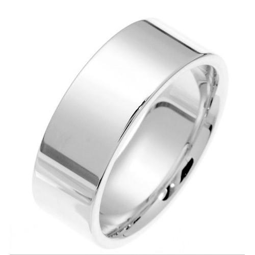 14Kt White Gold 8.0 mm Flat Inside Comfort Fit Wedding Band