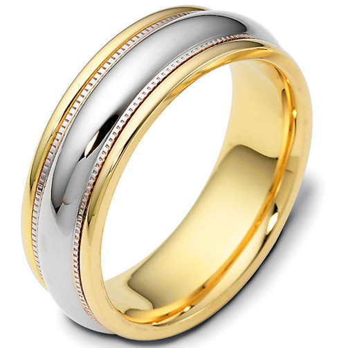 14Kt Two-Tone Gold Classic Milgrain Wedding Band