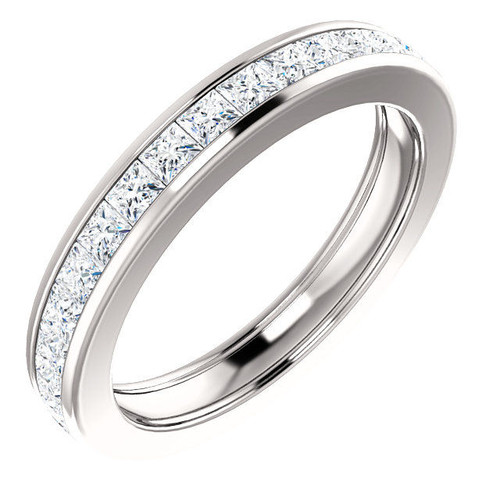 2.0 Ct Tw Princess Cut Channel Set Diamond Eternity Ring