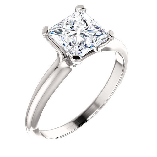Platinum Princess Cut Solitaire Engagement Ring