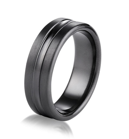 Black Titanium 7.5 MM Wide Wedding Ring