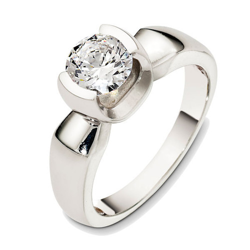 14Kt White Gold Half Bezel Solitaire Engagement Ring