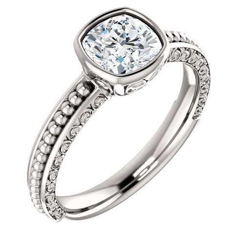 Cushion Cut Solitaire Carved Engagement Ring