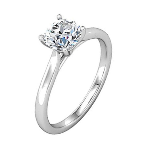 Round Cathedral Solitaire Engagement Ring