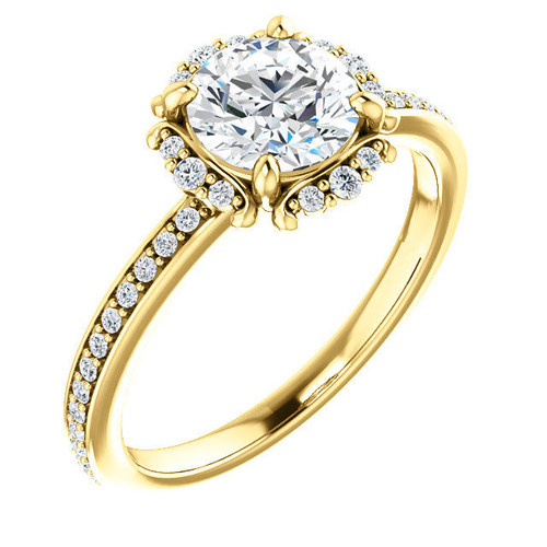 Round Cut Diamond Accent Engagement Ring