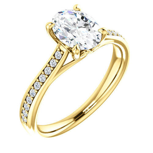 0.20 CT TW Diamond Accent Oval Cut Engagement Ring