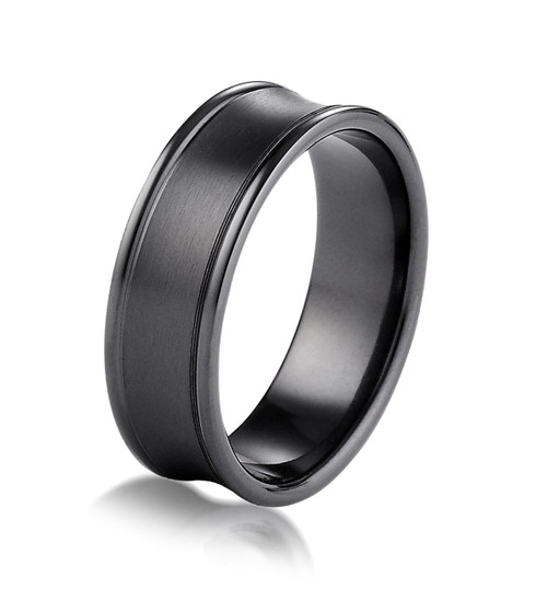 Black Titanium Concave Wedding Ring