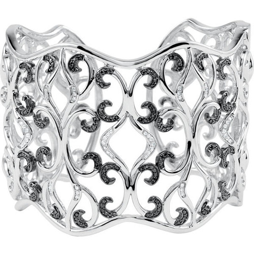 Sterling Silver Black & White Diamond Cuff Bracelet